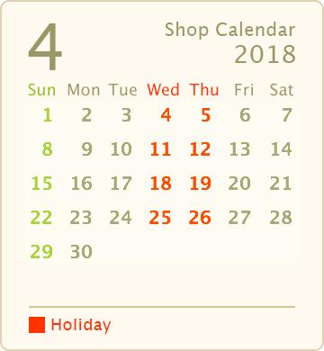 営業カレンダー2018年4月