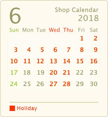 営業カレンダー2018年6月
