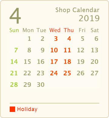 営業カレンダー2019年4月